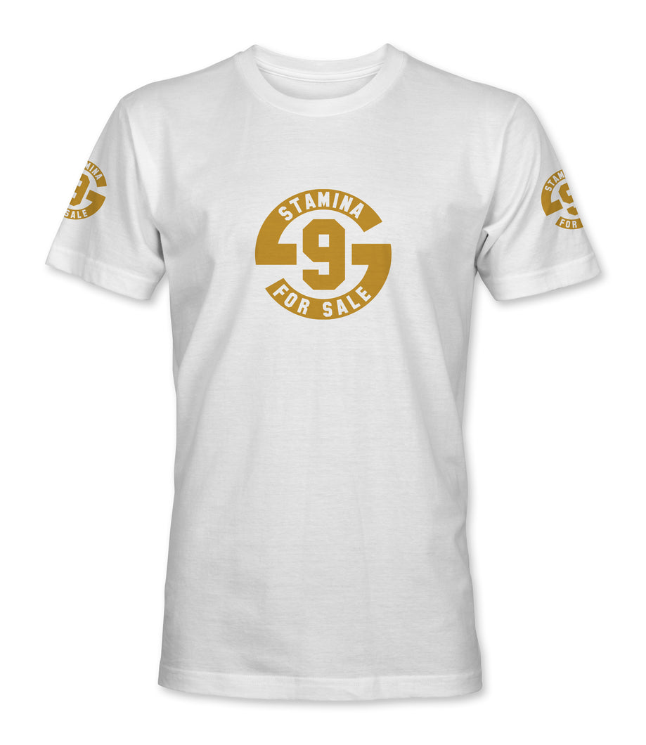 Stamina for Sale -White with metallic gold print - Large chest logo