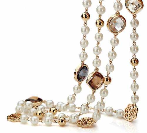 Long simulated Pearl Cubic Zirconia necklace - Divinesolutions