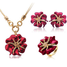 Elegant Luxury Design Fashion Jewelry Set  Gold-Color Red and Blue Rhinestone - Divinesolutions