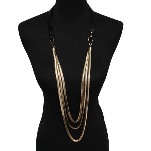 Long trendy leather necklace - Divinesolutions