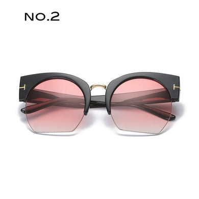 Fashion Brand Sunglasses Designer inspired Large Frame cat eyes, half Frame - Divinesolutions