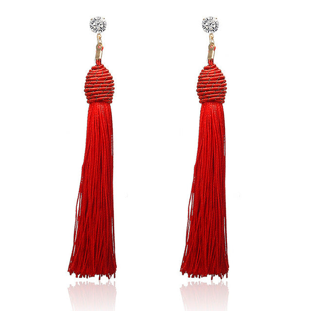 New Tassel Long Silk Hanging Earrings - Divinesolutions