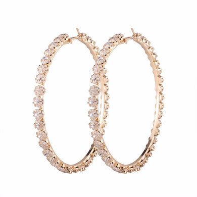 Luxury Big Round Crystal Hoop Earrings 80mm Rhinestone - Divinesolutions