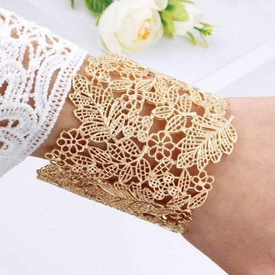 Cute Leafy gold cuff bangles - Divinesolutions