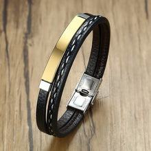Unisex  Multi Layer Leather Bracelet Stainless Steel - Divinesolutions