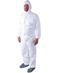 (25/Case) PROMAX Disposable Coveralls Zip Front w/ Hood, Boots, Elastic Wrists -Similar to Tyvek