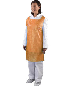 Orange Disposable 1mil & 2mil Poly Plastic Food Service Aprons