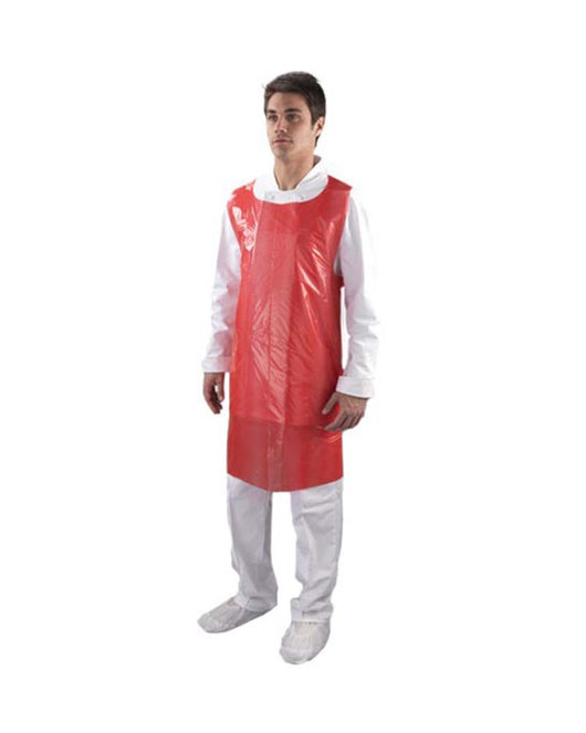 Red Disposable 1mil & 2mil Poly Plastic Food Service Aprons