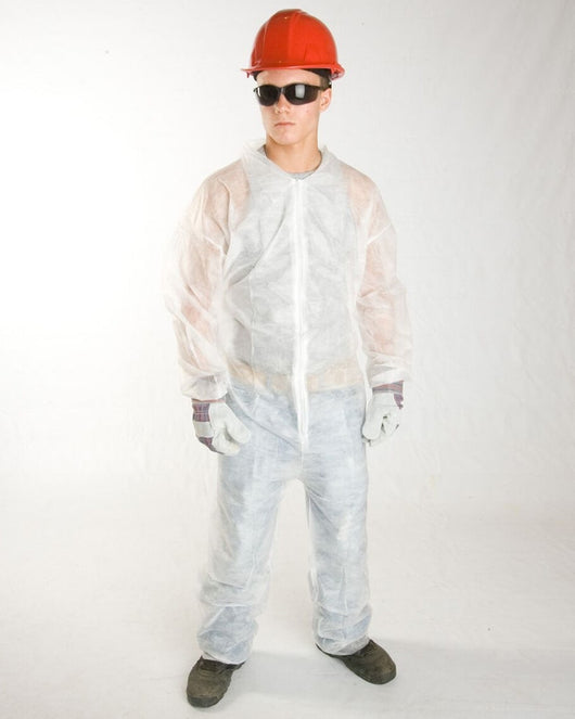 (25/Case) Polylite White Disposable Coveralls