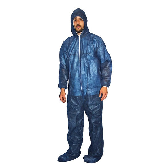 (25/Case) Polylite Blue Disposable Coveralls With Hood & Booties