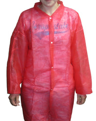 (30/Case) PolyLite Disposable Red Lab Coats No Pockets
