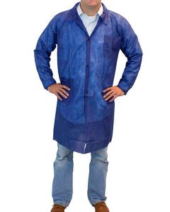 (30/Case) PolyLite Disposable Blue Lab Coat with Two Pockets