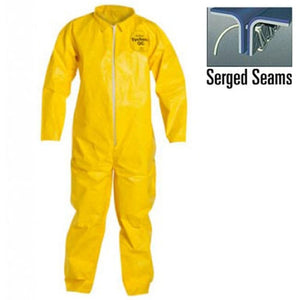 (12/Case) Dupont Tychem QC Zipper Front Coveralls - Serged Seam