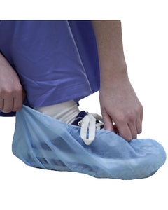 (300/Case) Blue Disposable Shoe Covers with Non Skid Bottoms