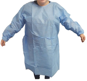 20g Blue SMS Polypropylene Isolation Gowns, Elastic Wrists