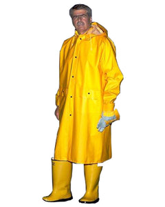 48' Inch Long Knee Length Yellow Raincoat with Hood