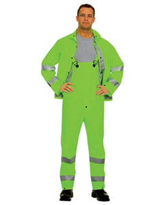 14 Mil Hi Vis Lime Green 3 Piece Rain Suit Reflective Safety Stripes