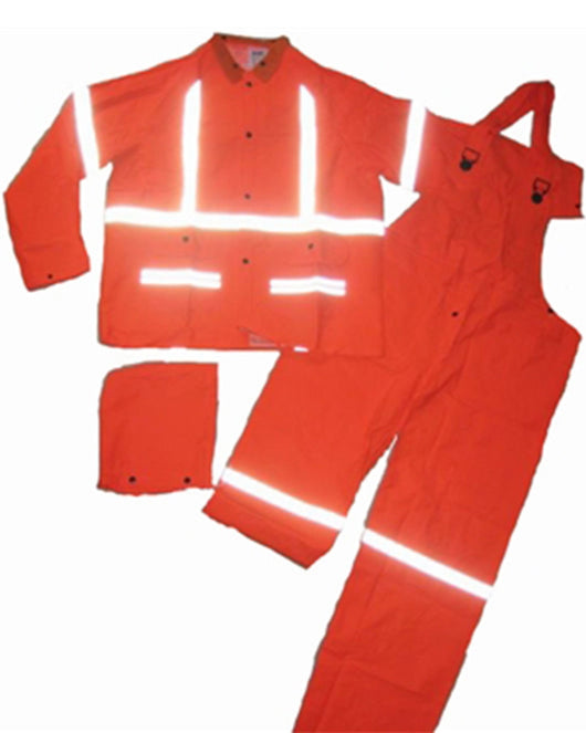 (12/Case)14 Mil (.35MM) Hi Vis Orange 3 Piece Rain Suit with Reflective Stripes