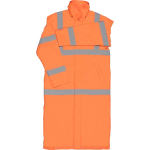 Class 3 ANSI/ISEA 107 Hi-Viz Orange Full Length Rain Coat