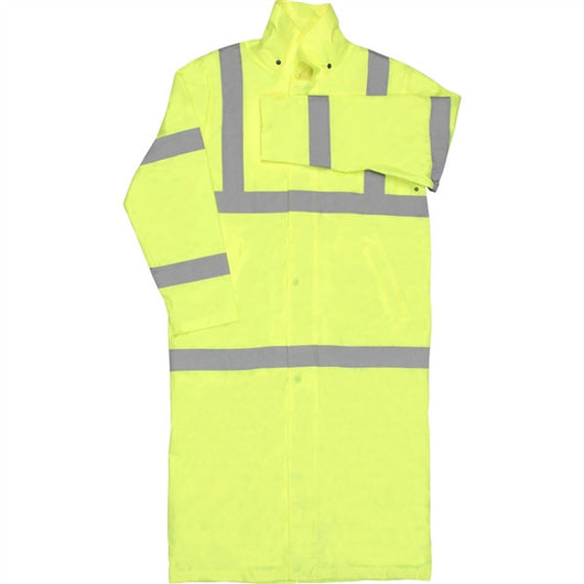 Class 3 ANSI/ISEA 107 Hi-Viz Lime Full Length Rain Coat