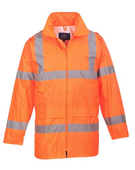 Class 3 ANSI/ISEA 107 Hi-Viz Orange Rain Coat with Attached Hood