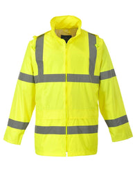 Class 3 ANSI/ISEA 107 Hi-Viz Yellow Rain Coat with Attached Hood