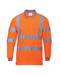 Class 3 ANSI/ISEA 107 Hi-Vis Orange Long Sleeve Polo Shirt