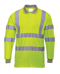Class 3 ANSI/ISEA 107 Hi-Vis Yellow Long Sleeve Polo Shirt