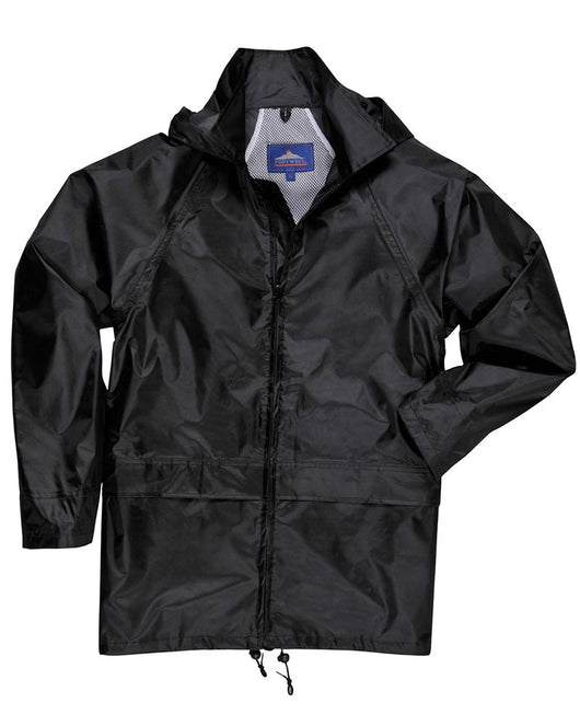 Portwest Black 100% Waterproof Rain Coat with Attached Hood