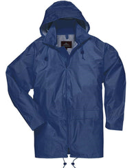 Portwest Navy 100% Waterproof Rain Coat with Attached Hood