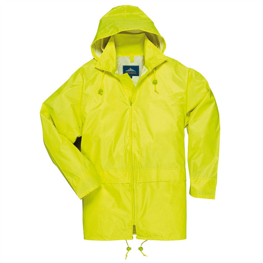 Portwest Yellow Adult Rain Coat with Attached Hood