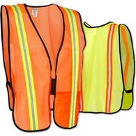 (24/Case) Non ANSI Safety Vests Reflective Stripes Orange & Lime Green