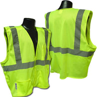 (12/Case) Class 2 High Vis Lime Mesh Multi Pocket Breakaway Safety Vest ANSI 107-2004