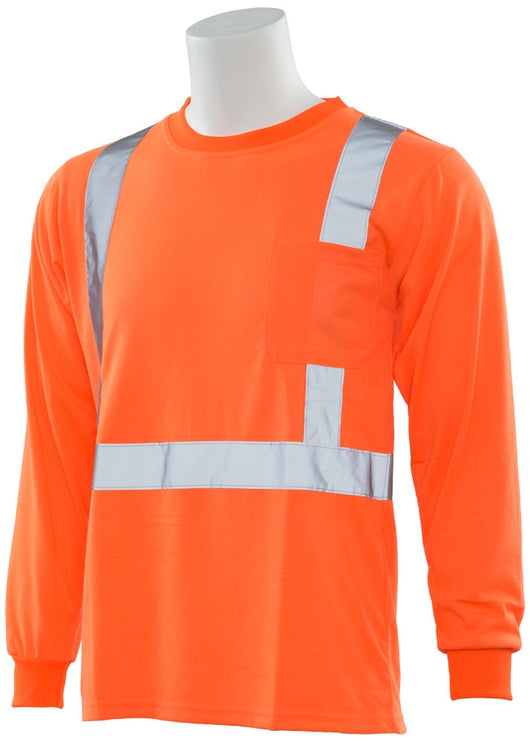 Class 2 ANSI/ISEA 107 High Visibility Men's Orange Long Sleeve T-Shirt