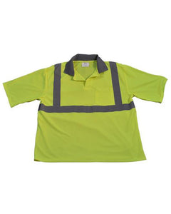 Class 2 ANSI Safety High Vis Lime Men's Mesh Polo Shirt