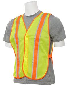 Non ANSI Economy Hi-Vis Safety Lime Yellow Mesh Vests Contrasting Trim