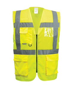 (6/Case) Class 2 Portwest Yellow Madrid Executive Mesh Vest