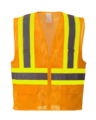 (3/Case) Class 2 Portwest Orange Tulsa Contrast Hi-Vis Vest