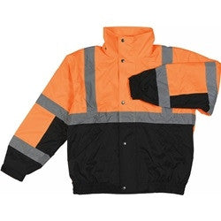 Class 2 ANSI/ISEA 107 Orange Bomber Jacket with Fleece Liner