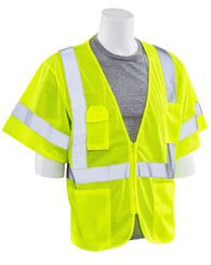 Class 3 Hi-Viz Lime Vest Mesh with Zipper