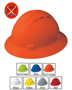 (12/CASE) Americana Full Brim Vent Hard Hat - Slide Lock Adjustment with 4 Point Nylon Suspension