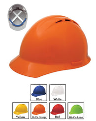 (12/CASE) Americana Vent Hard Hat - Mega Ratchet Adjustment with 4 Point Nylon Suspension