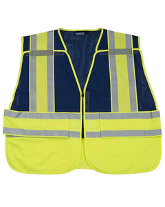 ANSI 207 PSV Hi-viz Break-Away Mesh Blue Vest w/ Contrasting Trim
