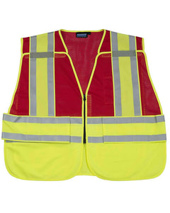 ANSI 207 PSV Hi-viz Break-Away Mesh Red Vest w/ Contrasting Trim