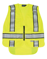 ANSI 207 PSV Hi-Viz Lime Vest Knit Tricot Break-Away Extended Tail