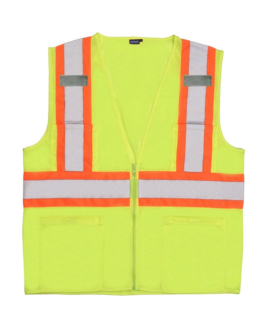 Class 2 Hi-viz Mesh Lime Vest with Zipper