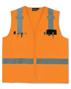 Class 2 Hi-viz Orange Surveyor's Vest Woven Oxford with Zipper
