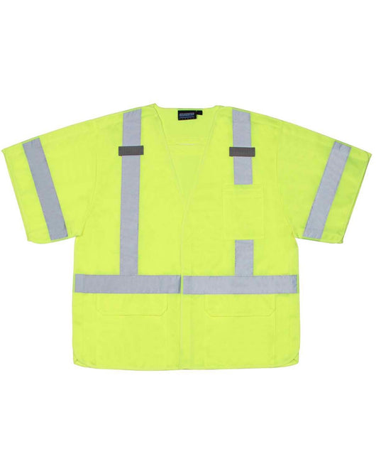 Class 3 Hi-viz Lime Vest Tricot Break-away D-Ring w/ Hook and Loop