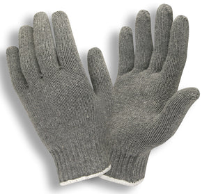 Gray Medium Weight String Knit Gloves