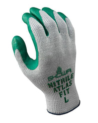 (12 Pairs) Showa's Best Atlas Fit 350 Green Nitrile Coated Palm Gloves